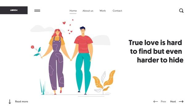 Szczęśliwa para zakochanych szablon strony docelowej