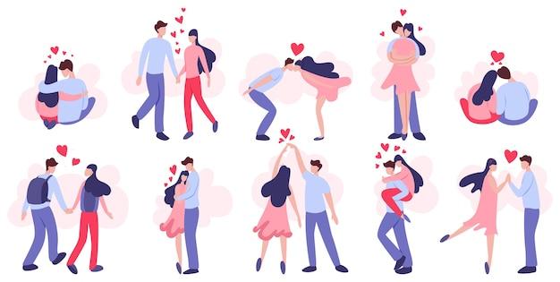 Szczęśliwa para zakochanych w zestawie. młodzi ludzie na walentynki. kochanek świętuje romantyczną randkę. idea związku i miłości. ilustracja