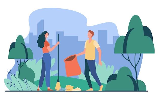 Szczęśliwa para zbieranie śmieci na zewnątrz. młodzi ludzie sprzątają park z ilustracji wektorowych płaski śmieci. wolontariat, ochrona przyrody