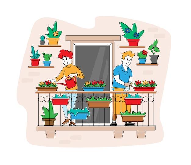 Szczęśliwa para znaków pielęgnuje rośliny w ogrodzie balkonowym.