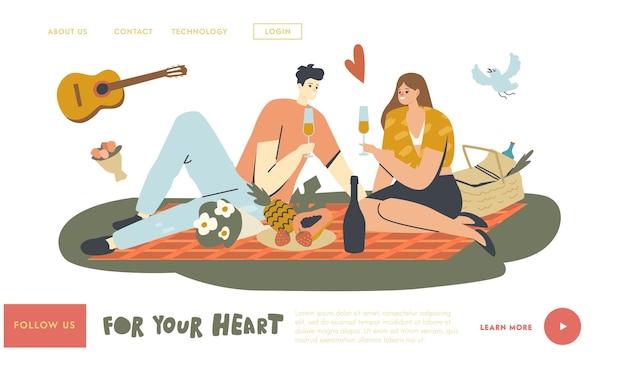 Szczęśliwa para znaków randki na świeżym powietrzu na piknik szablon strony docelowej. ludzie piją szampana. deklaracja miłości, młody mężczyzna grający na gitarze, romantyczne relacje, spotkanie. liniowa ilustracja wektorowa