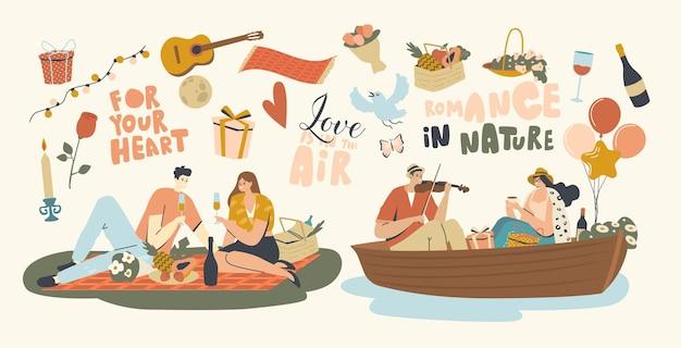 Szczęśliwa para znaków randki na świeżym powietrzu na pikniku i pływające na łodzi. deklaracja miłości, młody mężczyzna grający na skrzypcach, śpiewający piosenkę dziewczynie, kochaj romantyczne relacje. ilustracja wektorowa ludzi liniowych