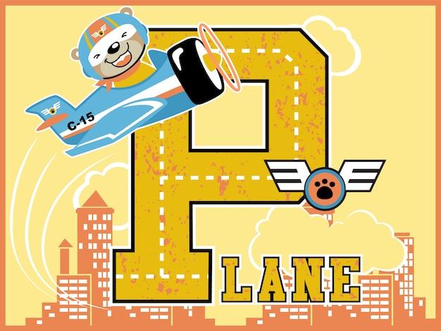 Szczęśliwa pilotowa kreskówka z małym samolotem na budynku tle