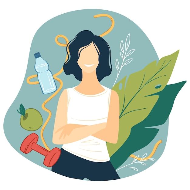 Szczęśliwa postać kobieca prowadząca zdrowy tryb życia, picie wody, jedzenie owoców i dietę. kobieta trenująca i ćwicząca dla poprawy zdrowia organizmu. odżywianie i wektor równowagi w mieszkaniu