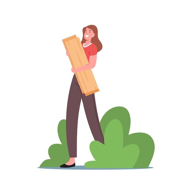 Szczęśliwa postać kobieca trzymając w rękach drewniane deski. kobieta buduje domek na drzewie, stolarz, rzemieślnik pracujący w stolarni. przemysłowe woodcraft lub hobby. ilustracja wektorowa kreskówka ludzie
