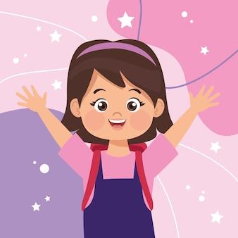 Szczęśliwa postać małej dziewczynki