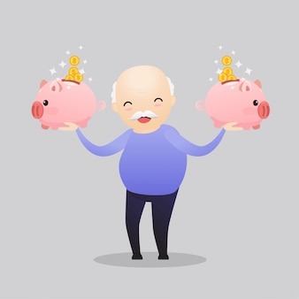Szczęśliwa postać senior oszczędzania pieniędzy.