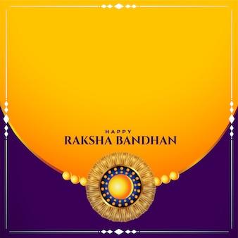 Szczęśliwa raksha bandhan tradycyjna festiwal karta z przestrzenią tekstową