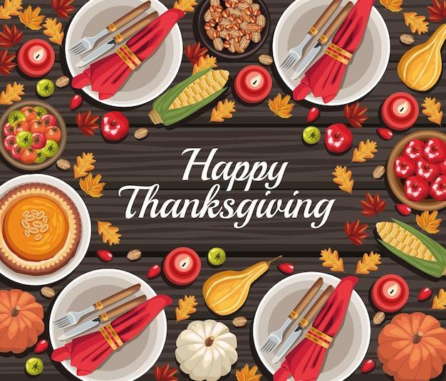 Szczęśliwa rama z jedzeniem na święto dziękczynienia