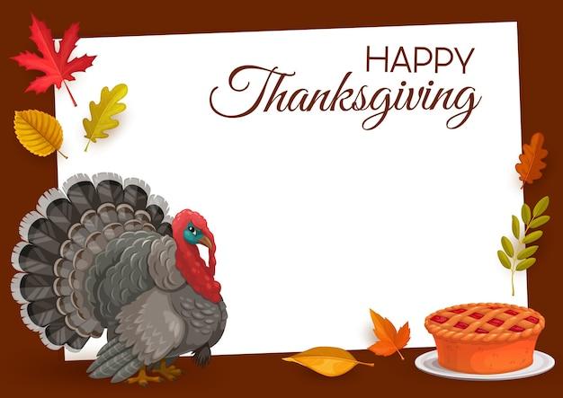 Szczęśliwa ramka dziękczynienia z indykiem, plackiem dyniowym i jesiennymi opadłymi liśćmi klonu, dębu, brzozy lub jarzębiny z jesionem. dziękuję gratulacje z okazji dnia, jesienną kartkę z życzeniami świątecznymi