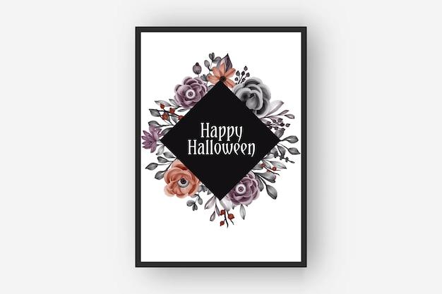 Szczęśliwa ramka na halloween z przerażającymi kwiatowymi oczami