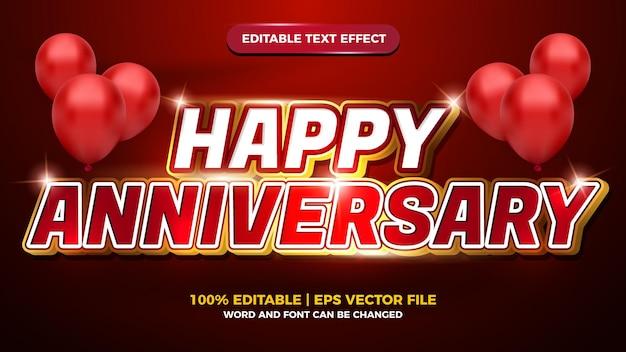 Szczęśliwa rocznica czerwony biały luksusowy edytowalny efekt tekstowy 3d