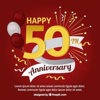 Szczęśliwa rocznica karty z balonów