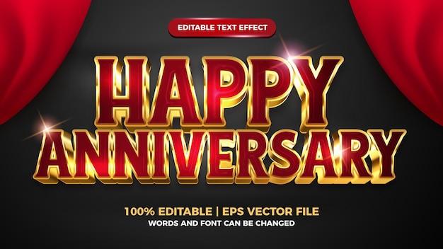 Szczęśliwa rocznica luksusowy edytowalny efekt tekstowy 3d