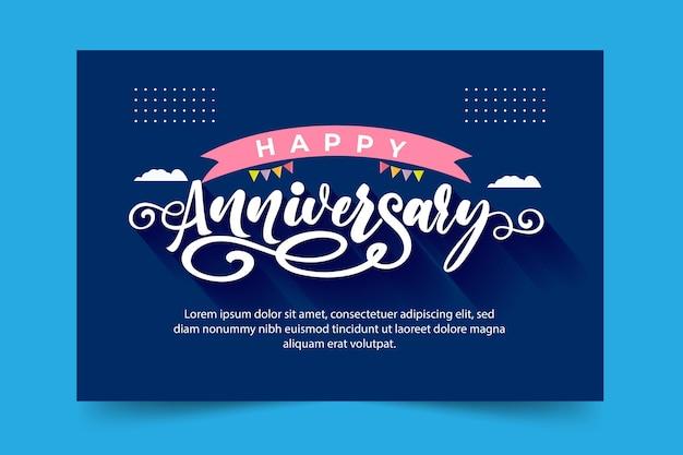Szczęśliwa rocznica napis na niebieskim tle