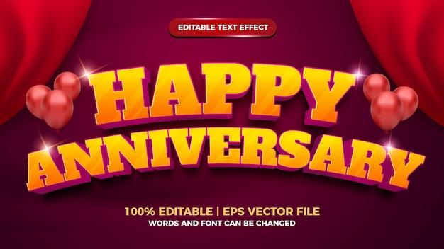 Szczęśliwa rocznica pogrubiony edytowalny efekt tekstowy 3d