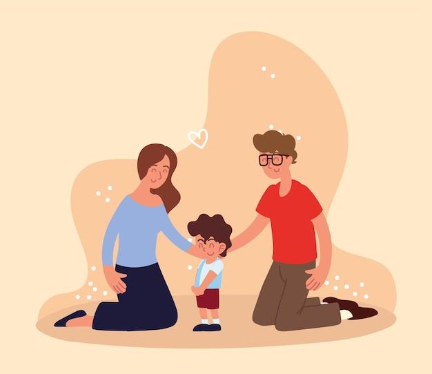 Szczęśliwa rodzina adoptowanego chłopca