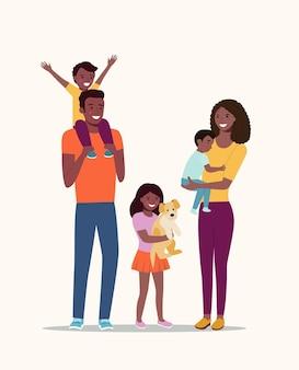 Szczęśliwa Rodzina Afro Amerykańska Na Białym Tle. Ilustracja Wektorowa Płaski Premium Wektorów