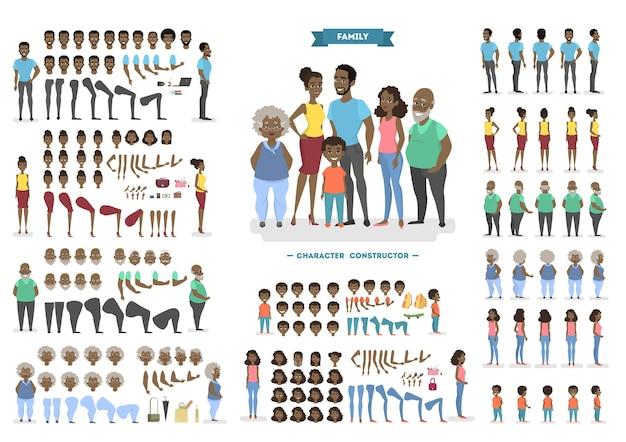 Szczęśliwa rodzina afroamerykańska zestaw do animacji z różnymi widokami, fryzurami, emocjami twarzy, pozami i gestami. widok z przodu, z boku iz tyłu. ilustracja w stylu kreskówki
