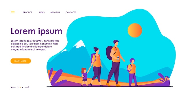 Szczęśliwa rodzina aktywny spacer na świeżym powietrzu. para turystów z dziećmi na wycieczkę, niosąc plecaki kempingowe. ilustracja wektorowa na wakacje, wędrówki górskie, aktywność, pojęcie stylu życia