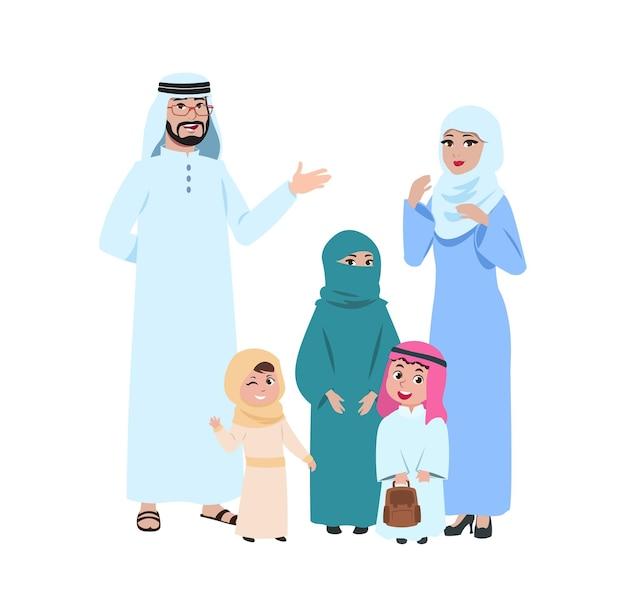 Szczęśliwa rodzina arabska. muzułmańscy młodzi ludzie, islamska kobieta i dzieci. na białym tle matka w hidżab dziewczynka chłopiec i ojciec postaci z kreskówek. ilustracja wektorowa. rodzina arabów i arabów muzułmańskich