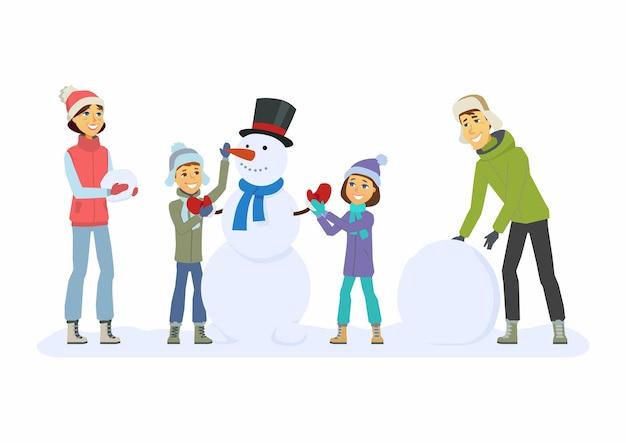 Szczęśliwa rodzina buduje bałwana - ilustracja kreskówka ludzie znaków na białym tle. koncepcja aktywności zimowej, nowy rok, boże narodzenie. uśmiechnięta matka i ojciec z dziećmi bawią się na świeżym powietrzu
