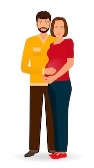 Szczęśliwa rodzina ciążowa. para mężczyzna i kobieta w ciąży stojąc razem.