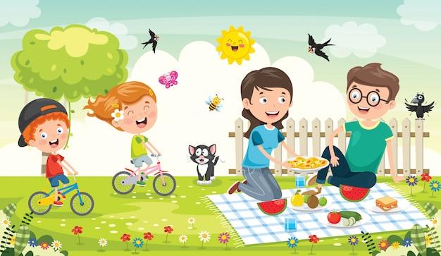 Szczęśliwa rodzina co piknik w przyrodzie