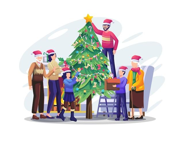 Szczęśliwa rodzina dekorująca choinkę razem przygotowuje się na ilustrację świąteczną i noworoczną