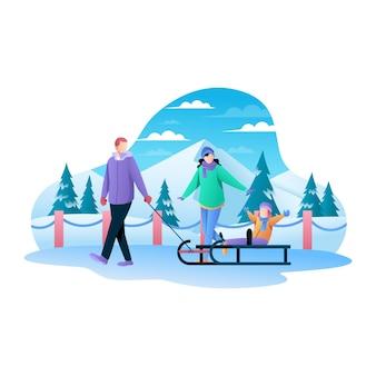 Szczęśliwa rodzina grać ciągnąć wózek na zaśnieżonej drodze płaskiej ilustracji