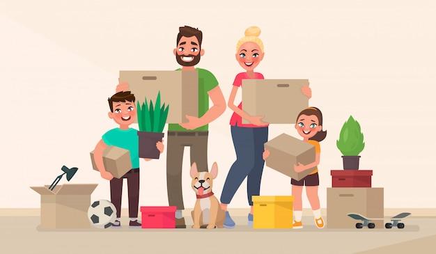 Szczęśliwa rodzina i przeprowadzka do nowego domu. kupno nowego domu lub mieszkania