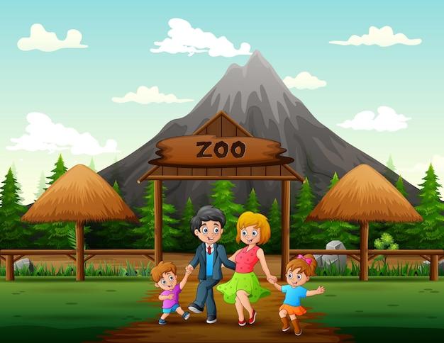 Szczęśliwa rodzina idzie do zoo ilustracja
