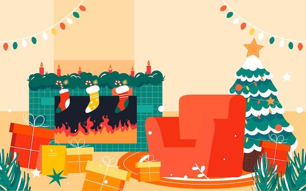 Szczęśliwa rodzina ilustracja wigilia świąteczna dekoracja choinki plakat
