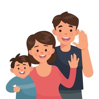 Szczęśliwa rodzina jako ojciec, matka i maluch
