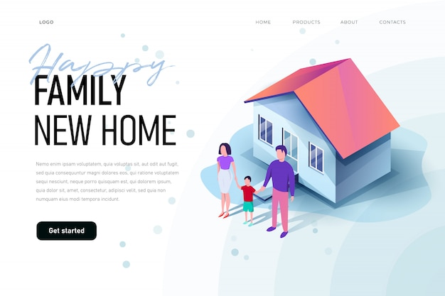 Szczęśliwa rodzina jest w pobliżu nowego domu. rodzinny nowy domowy ilustracyjny pojęcie. ilustracja izometryczna