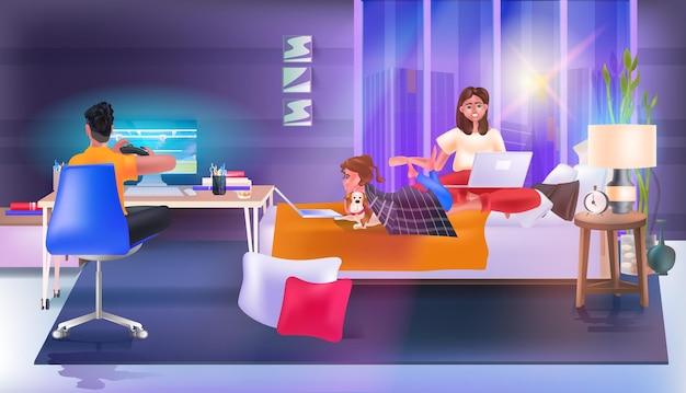 Szczęśliwa rodzina korzystająca z aplikacji do czatowania i grająca w piłkę nożną na komputerze sieć mediów społecznościowych koncepcja komunikacji online sypialnia wnętrze pełnej długości pozioma ilustracja wektorowa
