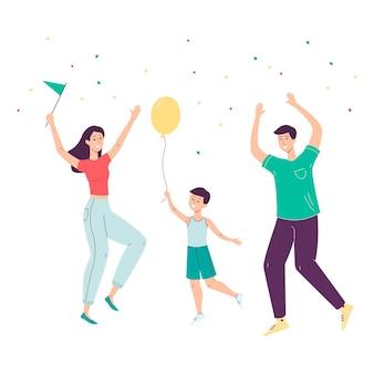 Szczęśliwa rodzina kreskówka skoki w celebracji - matka, ojciec i syn tańczą ze szczęścia z balonem i konfetti