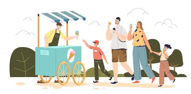 Szczęśliwa rodzina kupuje lody w kiosku na ulicy. rodzice i dzieci jedzenie smaczne desery zimne lato w parku. mama, tata i dzieci spacerują po parku. ilustracja kreskówka płaski wektor