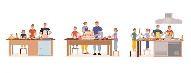 Szczęśliwa rodzina ma dzieci gotuje wpólnie ustawia