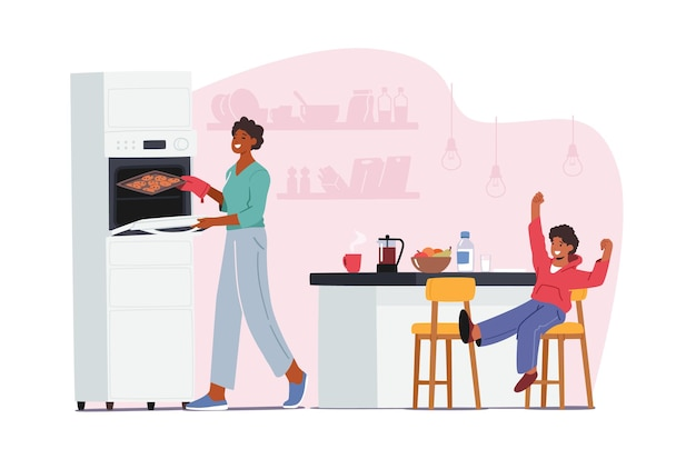 Szczęśliwa rodzina matki i małego dziecka w kuchni razem spędzać czas, syn siedzi przy stole z jedzeniem. mama gotowanie piekarnia, wesołe postacie w czasie lunchu w weekend. ilustracja kreskówka wektor