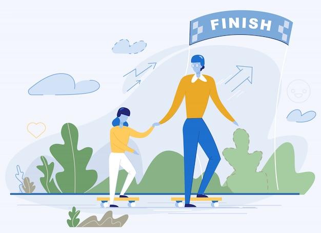 Szczęśliwa rodzina na deskorolce ukończ maraton