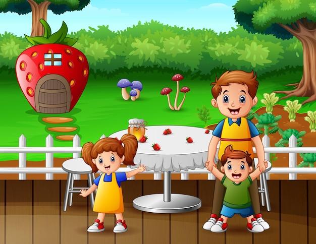 Szczęśliwa rodzina na ilustracji restauracji