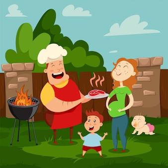 Szczęśliwa rodzina na imprezie z grillem. ilustracja kreskówka mama, tata, syn i córka odpoczywa na podwórku ich domu. rodzice i dzieci spędzają razem letni dzień.