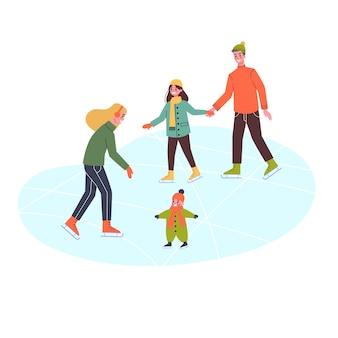 Szczęśliwa rodzina na lodowisku. jazda na łyżwach zimą, aktywność na świeżym powietrzu. ludzie z dziećmi. ilustracja