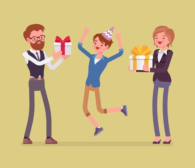 Szczęśliwa rodzina na przyjęcie urodzinowe. wesoły rodzice i syn bawią się na imprezie, ojciec i matka wspólnie bawią się, dając prezenty w pudełku. ilustracja kreskówka styl