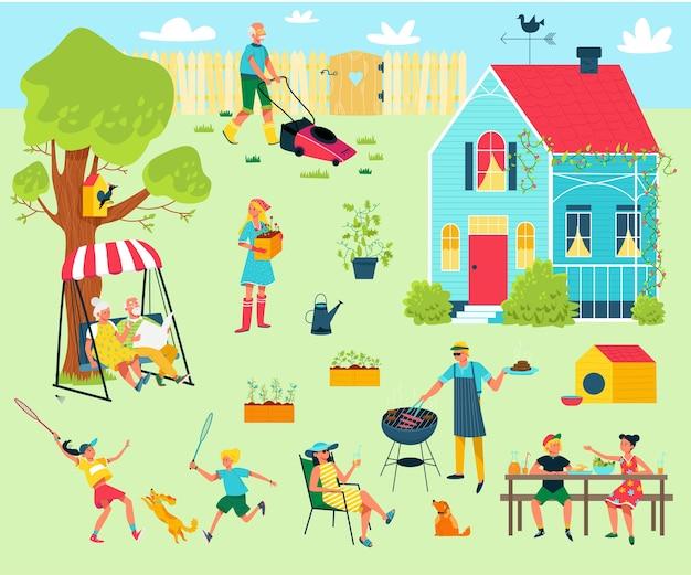 Szczęśliwa rodzina na przyjęciu na podwórku