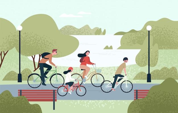 Szczęśliwa rodzina na rowerach. radosna matka, ojciec, córka i syn na rowerach w parku. rodzice i dzieci wspólnie jeżdżą na rowerze. rekreacyjna aktywność na świeżym powietrzu. ilustracja wektorowa w stylu cartoon płaski.
