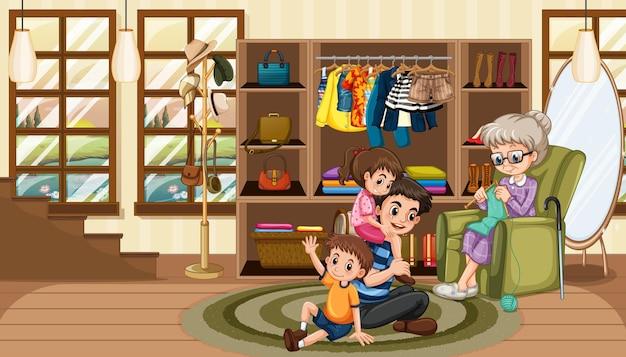 Szczęśliwa rodzina na scenie w salonie