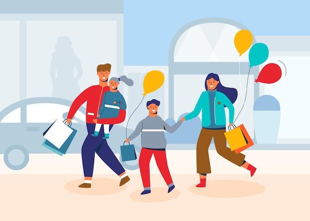 Szczęśliwa rodzina na zakupy. ojciec, matka i dzieci z torbami i zakupami. postacie ludzi w centrum handlowym, sklepie lub sklepie.