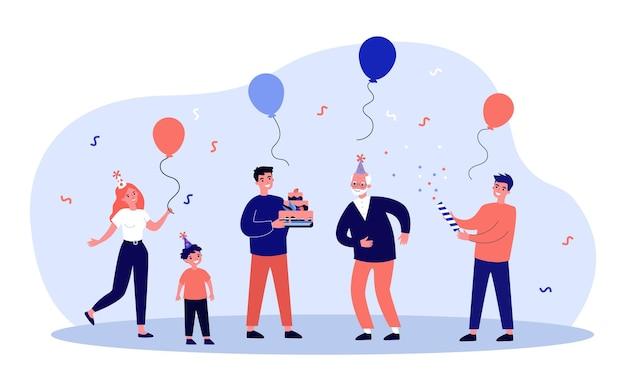 Szczęśliwa rodzina obchodzi urodziny dziadka. dziecko, ciasto, ilustracja wektorowa płaski balon